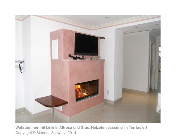 wohnzimmerwand günstig:wohnzimmer grau altrosa : Wohnzimmer mit Linie in Altrosa und Grau