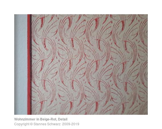 Wohnzimmer in Beige-Rot, Detail - Musterrolle | Stannes Schwarz