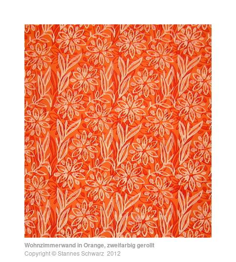 wohnzimmerwand in orange zweifarbig gerollt musterrolle stannes schwarz. Black Bedroom Furniture Sets. Home Design Ideas